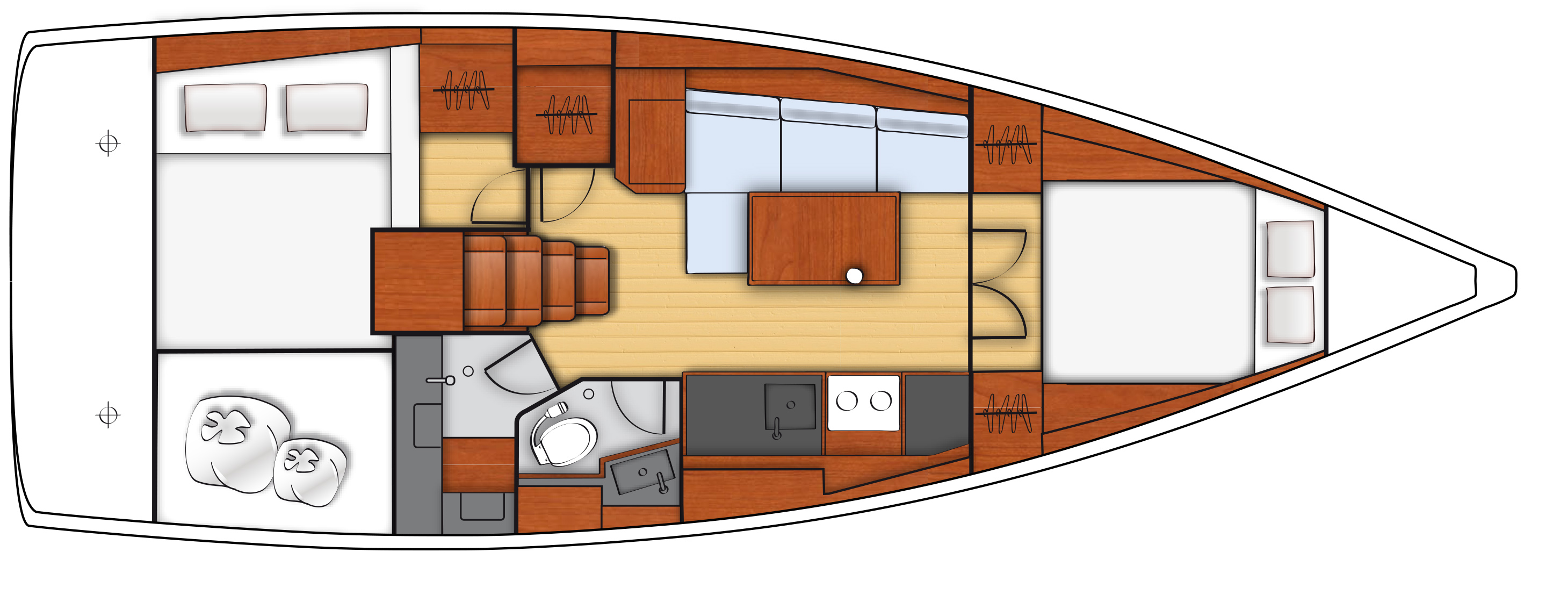 oceanis 38 - 2C 1T side galley