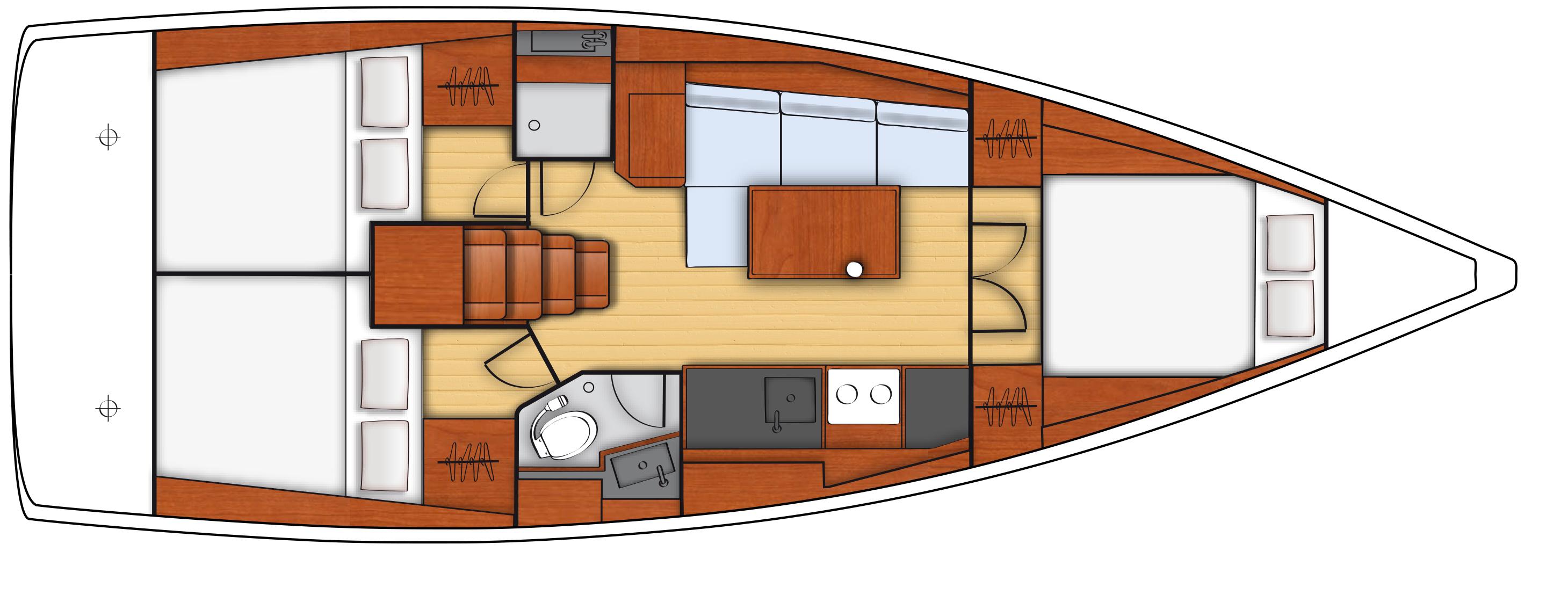 oceanis 38 - 3C 1T cuisine en long - side galley