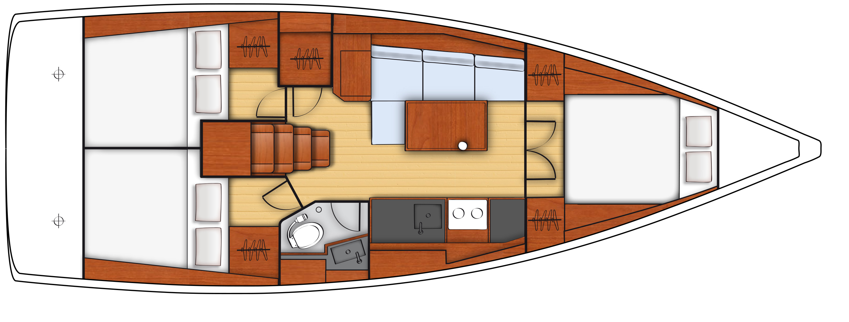 oceanis 38 - 3C 1T cuisine en long - side galley 2